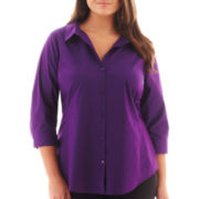 Worthington® 3/4-Sleeve Shirt - Plus