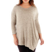 a.n.a® Long-Sleeve Asymmetrical Textured Tunic - Plus