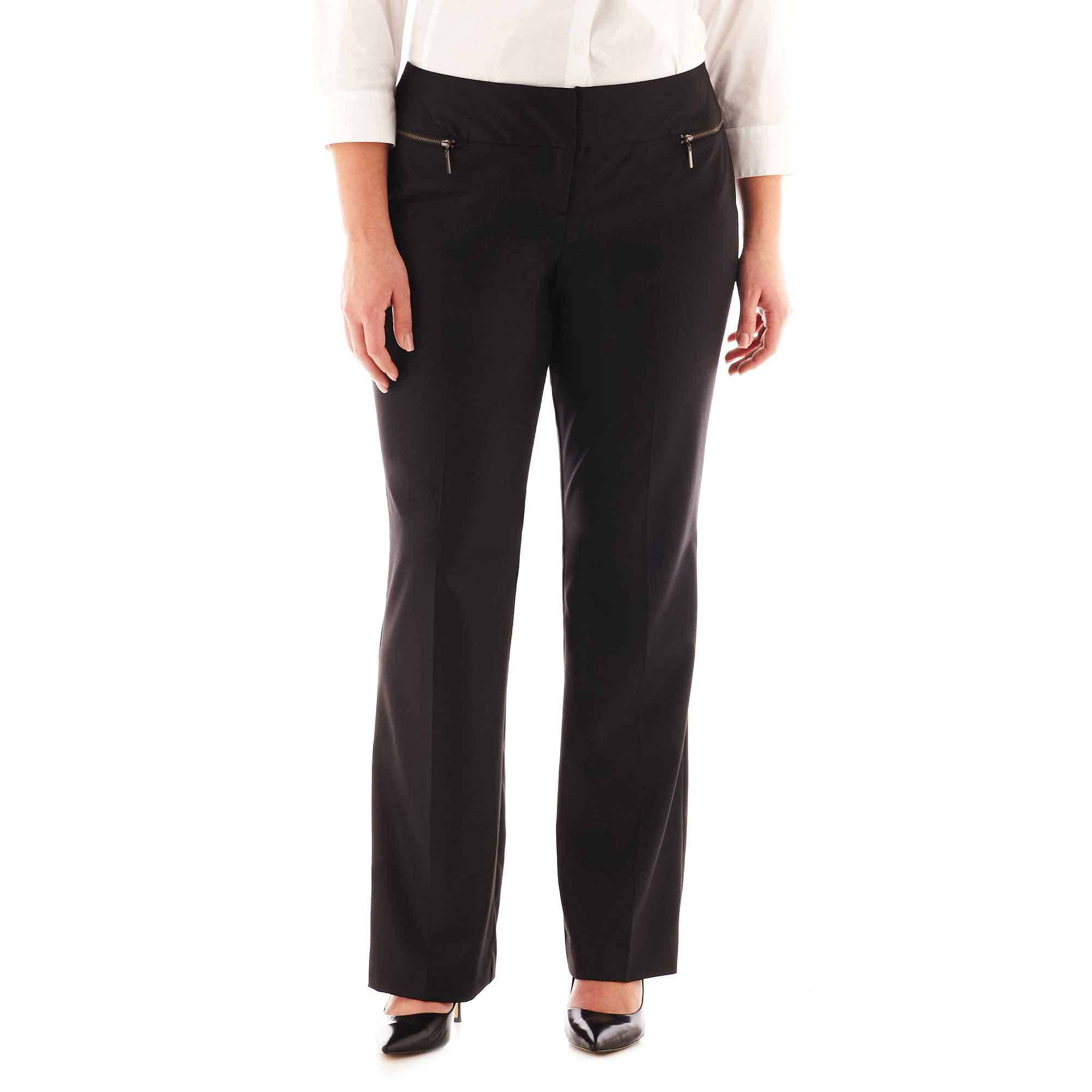 Worthington Modern Zipper-Pocket Trouser Pants - Plus plus size,  plus size fashion plus size appare