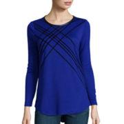 Worthington® Long-Sleeve Flocked T-Shirt - Tall