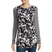 Worthington® Long-Sleeve Embellished Animal Print Tunic - Tall