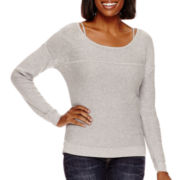 a.n.a® Long-Sleeve Mesh Sweater- Petite