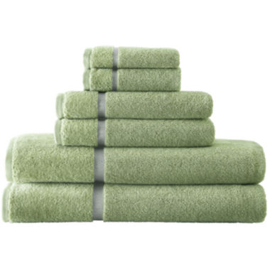 jcpenney.com | Pacific Coast Textiles™ Velour Border 6-pc. Bath Towel Set