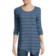 St. John's Bay® 3/4-Sleeve Textured Asymmetric Tunic