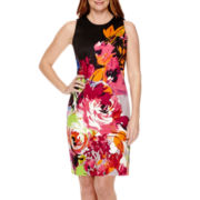 London Style Collection Sleeveless Exploded Floral Sheath Dress - Petite