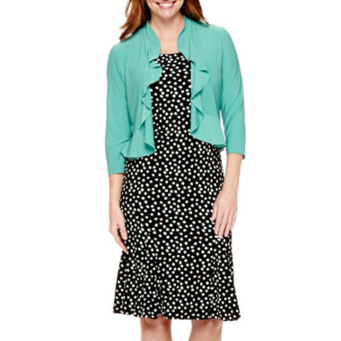 jcpenney.com | Danny & Nicole® 3/4-Sleeve Ruffled Jacket Dress - Petite