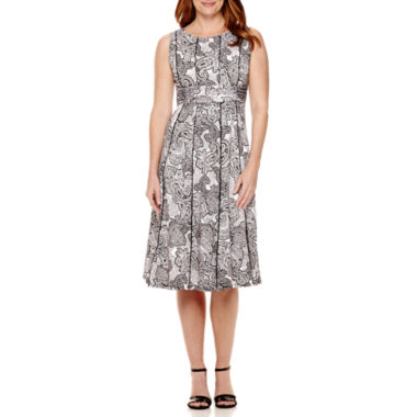 jcpenney.com | Perceptions Sleeveless Ruched Waist Fit-and-Flare Dress-  Petite