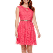London Times Cap-Sleeve Keyhole Lace Belted Fit-and-Flare Dress - Petite