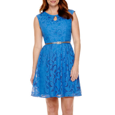 jcpenney.com | London Style Collection Cap-Sleeve Keyhole Lace Belted Fit-and-Flare Dress - Petite