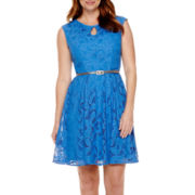 London Style Collection Cap-Sleeve Keyhole Lace Belted Fit-and-Flare Dress - Petite
