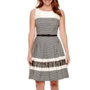 Danny & Nicole® Sleeveless Stripe Lace Fit-and-Flare Dress - Petite