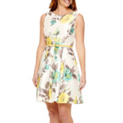 R&K Originals® Sleeveless Floral Fit-and-Flare Dress - Petite