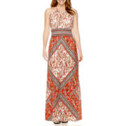 London Style Collection Sleeveless Keyhole Halter Maxi Dress - Petite