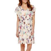 Sangria Short Flutter-Sleeve Blouson Fit-and-Flare Dress