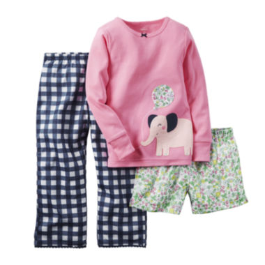 jcpenney.com | Carter's® 3-pc. Long-Sleeve Pajama Set - Baby Girls 12m-24m