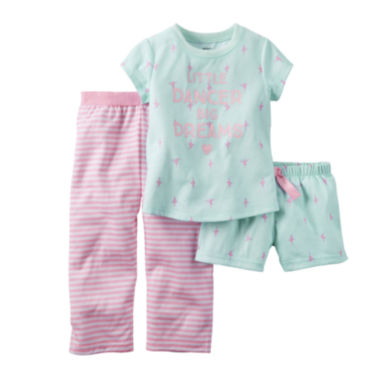 jcpenney.com | Carter's® 3-pc. Short-Sleeve Pajama Set - Baby Girls 12m-24m