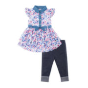 Little Lass® Sleeveless Floral Dress with Leggings - Preschool Girls 4-6x