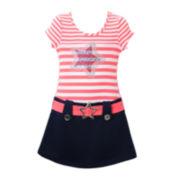 Lilt Short-Sleeve Star Marsha Dress with Belt - Preschool Girls 4-6x