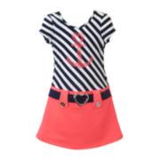 Lilt Short-Sleeve Anchor Marsha Dress with Belt - Preschool Girls 4-6x