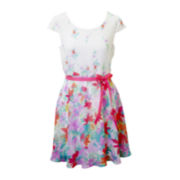 Lilt Short-Sleeve Floral Skater Dress - Girls 7-16 and Plus