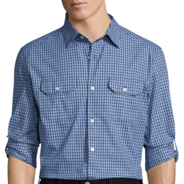 jcpenney.com | Claiborne® Novelty Roll-Sleeve Woven Shirt - Slim Fit