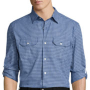 Claiborne® Novelty Roll-Sleeve Woven Shirt - Slim Fit