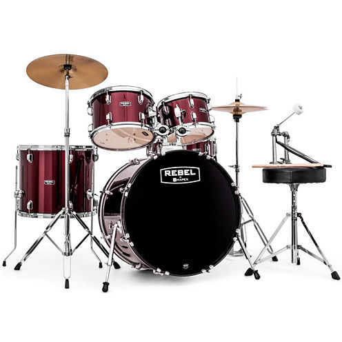 """Mapex RB5294FTCDR Rebel 5-pc. Drum Set with Hardware & Cymbals with 22"""" Bass Drum"""