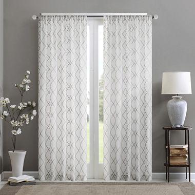 Madison Park Iris Diamond Sheer Rod-Pocket Curtain Panel - JCPenney