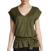 Worthington® Short-Sleeve Faux-Suede Top