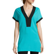 Bisou Bisou® Short-Sleeve V-Neck Side Slit Tunic
