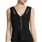 XOXO Sleeveless Crisscross Peplum Top
