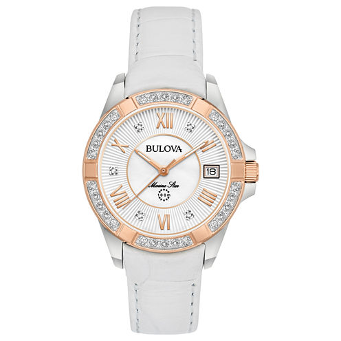 Bulova Womens White Strap Watch-98r233