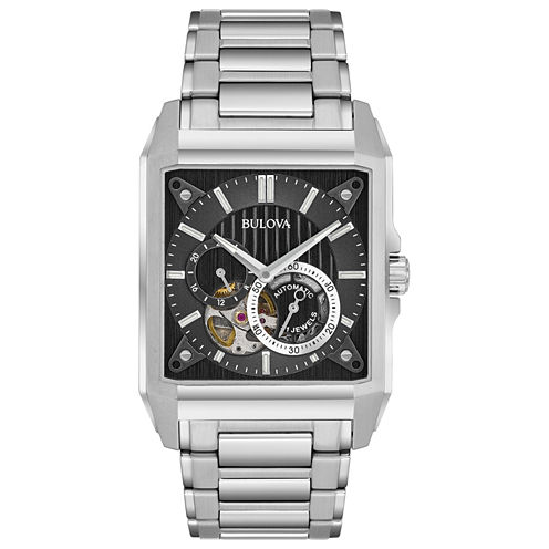 Bulova Mens Silver Tone Bracelet Watch-96a194