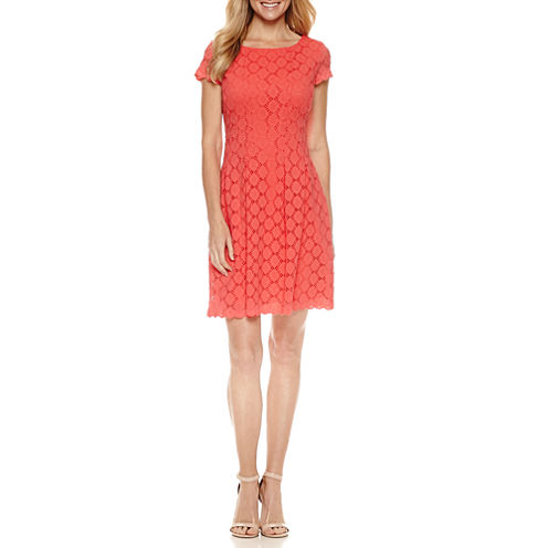 Ronni Nicole Short Sleeve Lace Circles Fit & Flare Dress