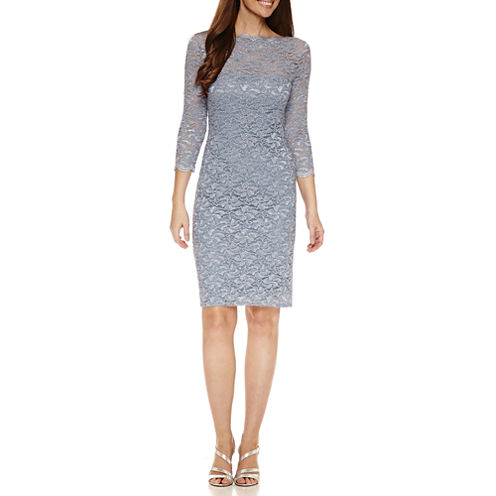 Onyx Nites 3/4 Sleeve Sheath Dress