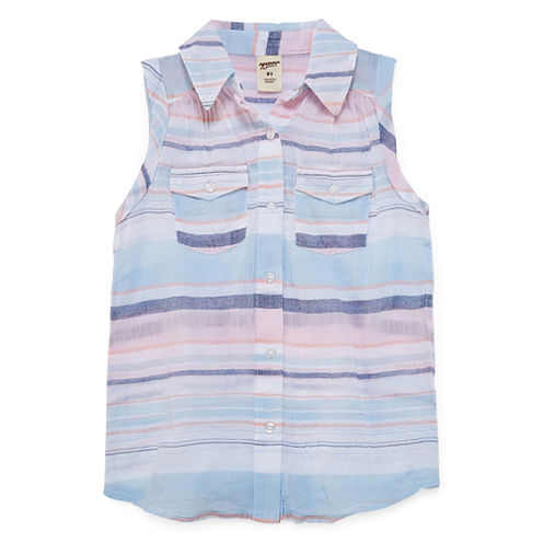 Arizona Sleeveless Button-Front Shirt Girls