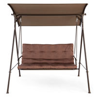 Oasis Newberry Two Seat Outdoor Canopy Swing (Brown)