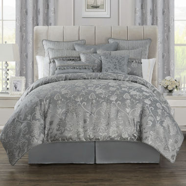 jcpenney.com | Marquis by Waterford® Samantha Platinum Floral 4-pc. Jacquard Comforter Set