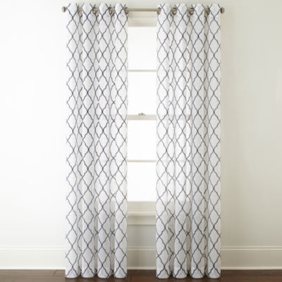 Jcpenney Home Bayview Embroidery Sheer Grommet Top Curtain Panel
