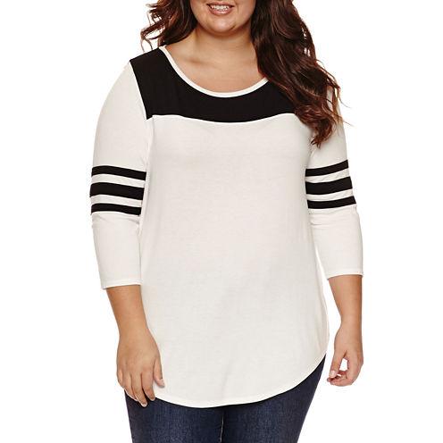 Arizona 3/4 Sleeve T-Shirt-Womens Juniors Plus