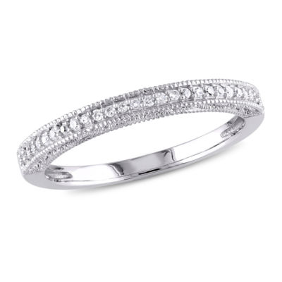 Fine Jewelry Womens 1/10 CT. T.W. White Diamond 10K Gold Band A2vugv