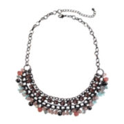 Mixit™ Gunmetal-Tone Pastel 3-Row Collar Necklace