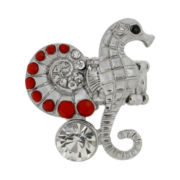 Mixit® Silver-Tone Red Crystal Seahorse Stretch Ring