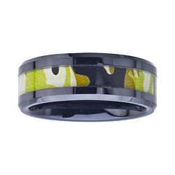 BEST VALUE! Mens 8mm Black Ceramic Band w/ Brown Camo Inlay