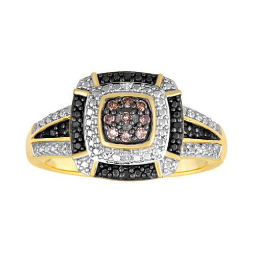 1/10 CT. T.W. White, Champagne and Color-Enhanced Black Diamond Ring