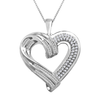 jcpenney.com | Sterling Silver ½ CT. T.W. Diamond Heart Pendant Necklace