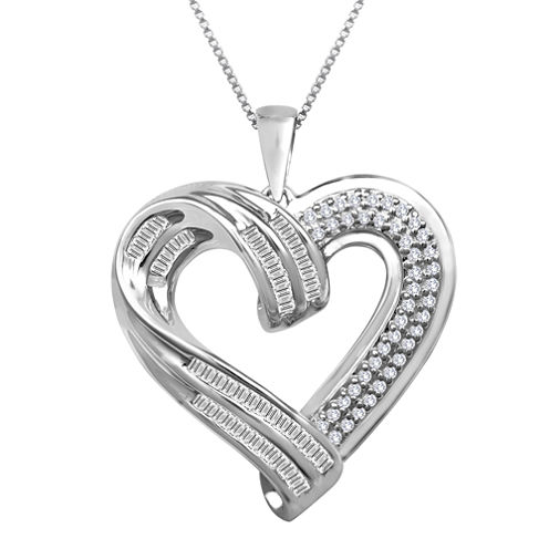 Sterling Silver ½ CT. T.W. Diamond Heart Pendant Necklace