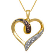 1/10 CT. T.W. White and Champagne Diamond Heart Pendant Necklace