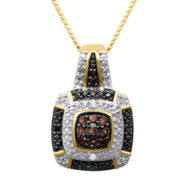 1/10 CT. T.W. White, Champagne and Color-Enhanced Black Diamond Pendant