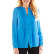 Liz Claiborne Long-Sleeve Pintuck Blouse with Cami - Tall